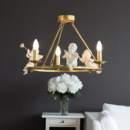 ¡Envío gratis! lámpara colgante de Ángel nórdico moderno, lámpara colgante de latón, lámpara Vintage E14 LED AC, colgante de bronce para iluminación de dormitorio