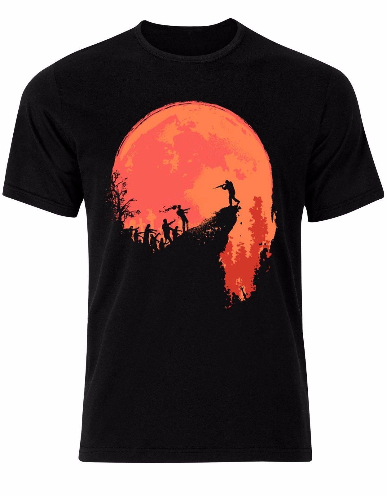 Novedad cuello redondo Tops Zombie Killer naranja luz de la luna Halloween Post apocalíptico hombres camiseta Top AL61 camisa Base camisa