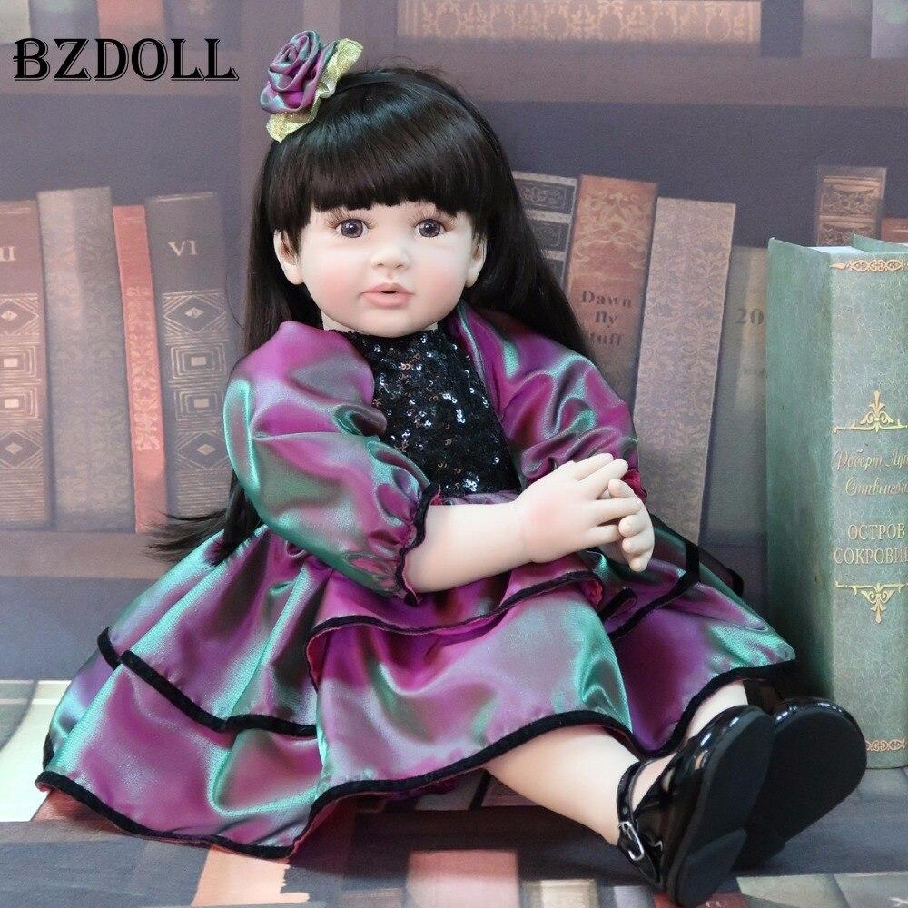 60cm Silicone Vinyl Reborn Baby Doll Toy Lifelike Princess Toddler Babies Alive Bebe Birthday Gift Girls Play House Boneca