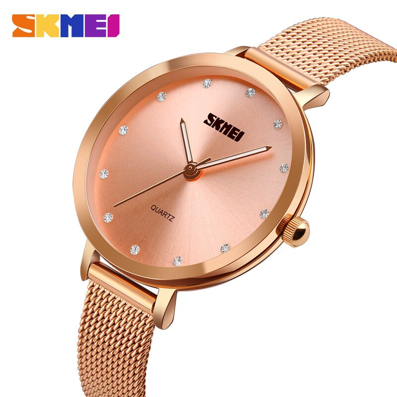 SKMEI Fashion Women Watches Rose Gold Stainless Steel Bracelet Watch Women Luxury Quartz Wristwatch Female Clock Montre Femme enlarge
