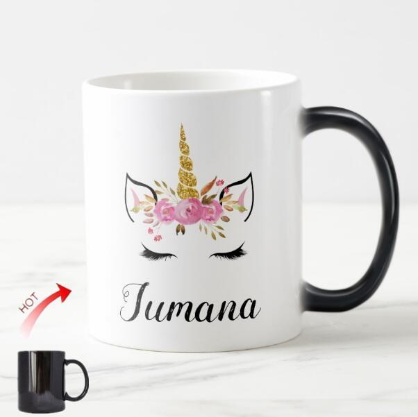 Taza de café personalizada con cara de unicornio y pestañas, taza de té con un bonito unicornio, regalos para niñas, decoración de fiesta de unicornio Kwaii, 11oz