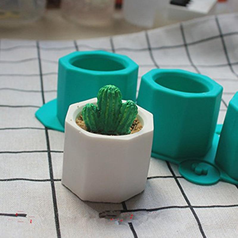 3 Holes Pot Mold Casting Concrete Plaster Mold Ceramic Clay Craft Cactus Flower Concrete Molds Silicone Cup Mould Supplies