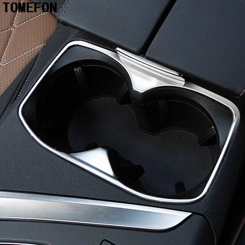 Consola Central de acero inoxidable tomepon, soporte para vasos delanteros, cubierta Interior de coche embellecedora 1 unid/set para Peugeot 3008 GT 2017 2018
