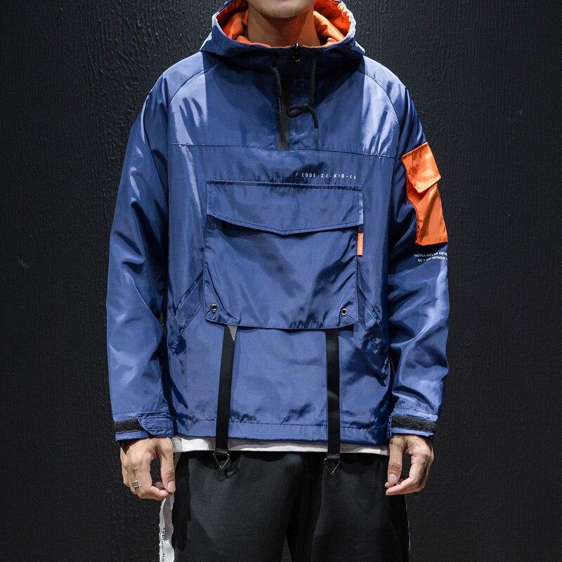 Alta calidad chaqueta de otoño para hombres de talla grande con capucha Casual chaquetas de los hombres suelto frente bolsillo prendas de vestir viento interruptores abrigos para los hombres 5XL-M