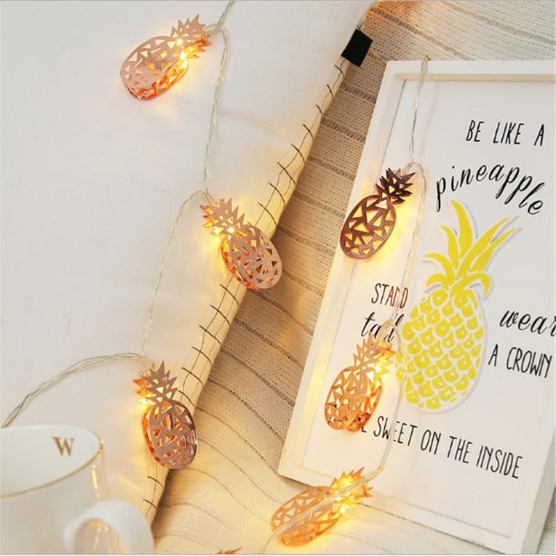 Rosa ouro abacaxi led iluminação cordas de fadas luz corda branco quente com aa bateria para festa de casamento decoração do feriado