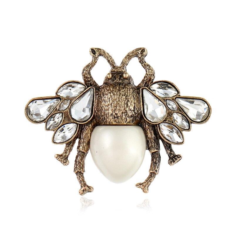 Vintage antiguo Color oro Broches de abeja para las mujeres de aleación de cristal Broches de insectos vestido sombrero de solapa PIN de Broches regalos de navidad