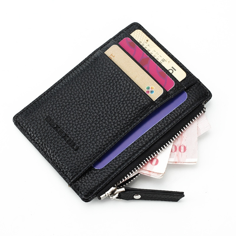 2019 Unisex wallet business card holder pu leather coin pocket bus card Organizer purse bag  men women multi-color