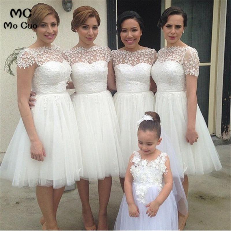 فستان إشبينة العروس من الدانتيل الشفاف ، فستان زفاف قصير ، فستان وصيفة العروس باللؤلؤ ، عرض ترويجي ، 2019