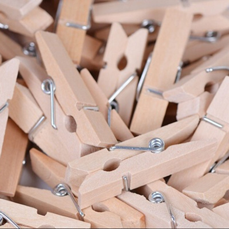 50x25MM Mini Natural Wooden Clothe Photo Paper Peg Clothespin Craft Clips