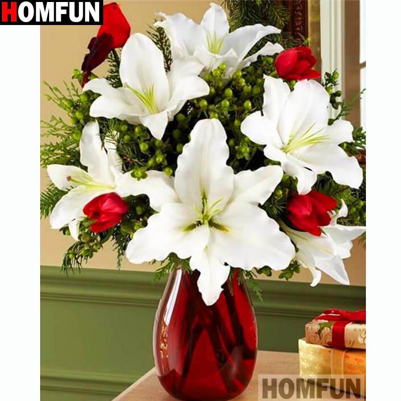 """HOMFUN cuadrado completo/taladro redondo 5D DIY diamante pintura """"flor blanca"""" bordado punto de cruz 5D decoración para el hogar A14236"""