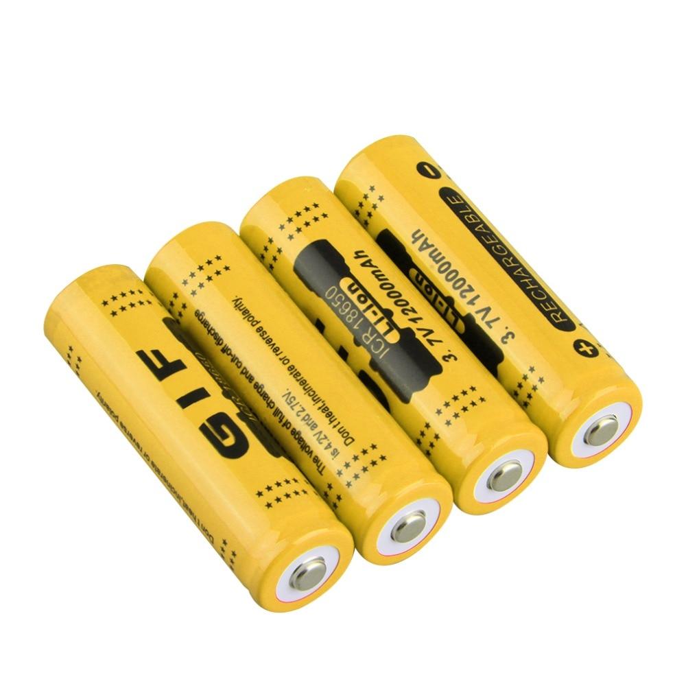 Batería de ion de litio recargable de 18650 V, 3,7 mah, 4 Uds. Para linterna LED, linterna con carcasa roja, operación de baja repetición, 2 colores