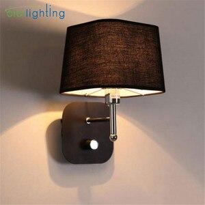 Modern Minimalist LED Knob Switch Bedside Reading Wall Light Living Room Hallway Stairs Hotel Balcony Fabric Decor Wall Lamp