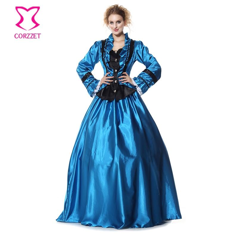 Corzzet azul largo de satén manga vestido con enaguas vestido de baile victoriano ropa adultos mujeres reina vampiro disfraz Cosplay