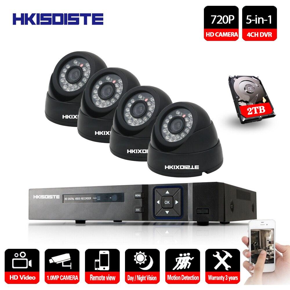 Caméra de vidéosurveillance 4CH 2000TVL   4 pièces, caméra de sécurité intérieure et extérieure 4CH 1080P DVR de jour/nuit 720P, Kit de caméras HD, système de vidéosurveillance
