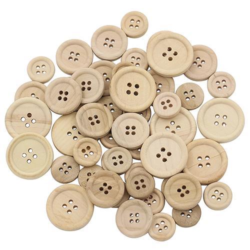¡Caliente SAEL! 50 Uds botones de madera mezclados Color Natural redondo 4 agujeros costura Scrapbooking DIY botones de Ropa Accesorios de costura