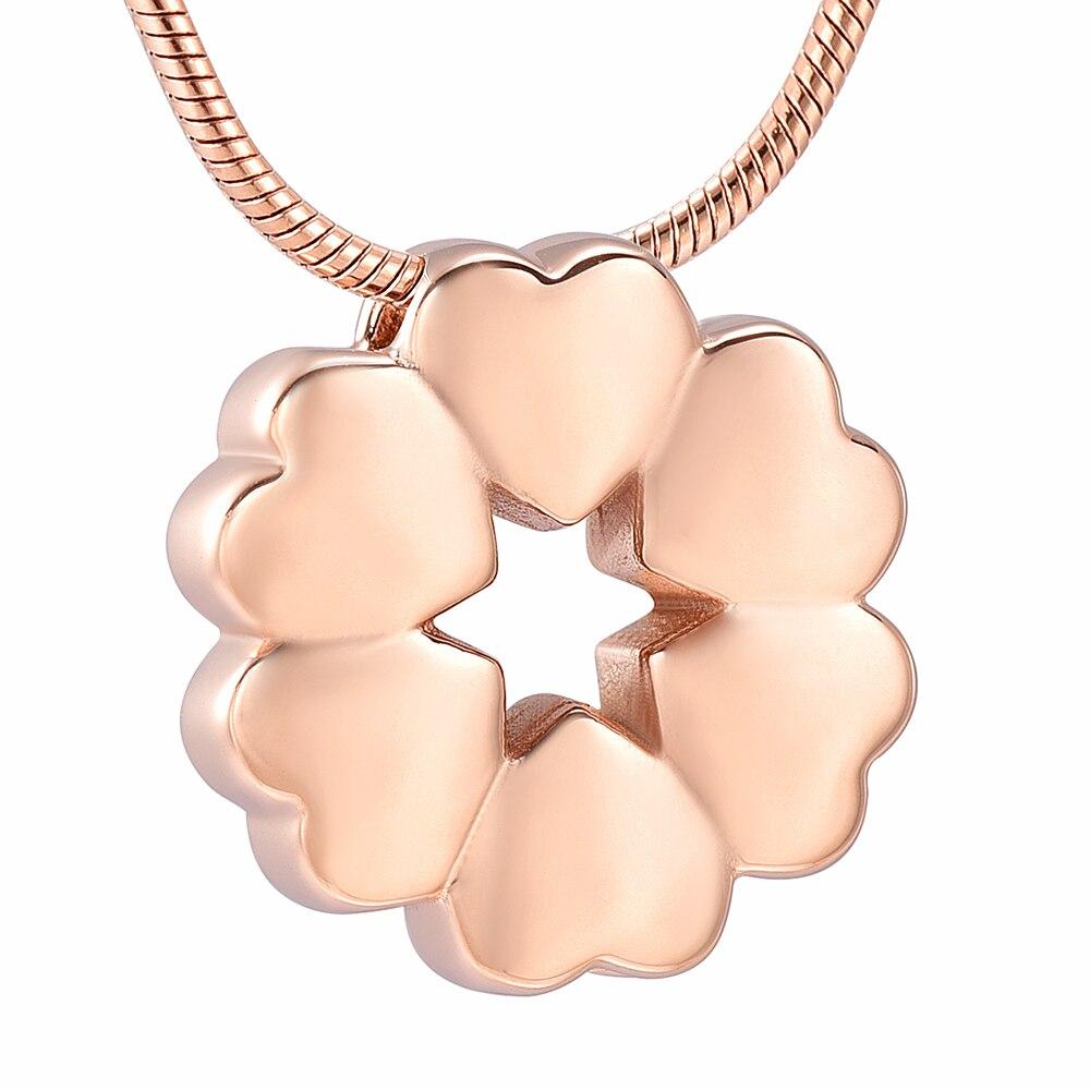 Collar de urna de cremación de acero inoxidable de joyería conmemorativa de flor de amor de seis corazones colgante de recuerdo de Funeral para mujer