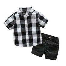 Chemise à carreaux avec Shorts   Ensemble de vêtements pour bébés garçons en bas âge, tenue de soirée, blanc et noir