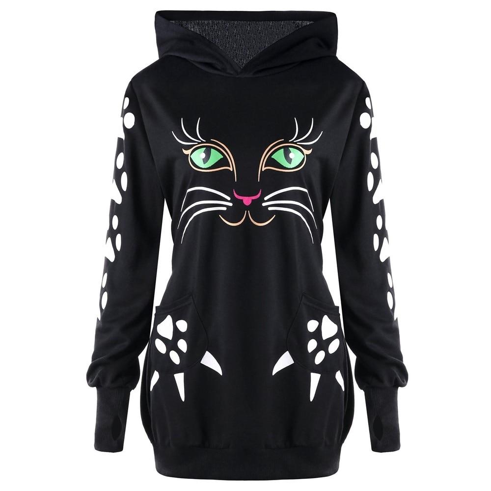 Free Ostrich sudaderas con capucha sudadera mujer otoño precioso gato estampado de manga larga sudadera con capucha Tops Jersey sudadera mujer N30