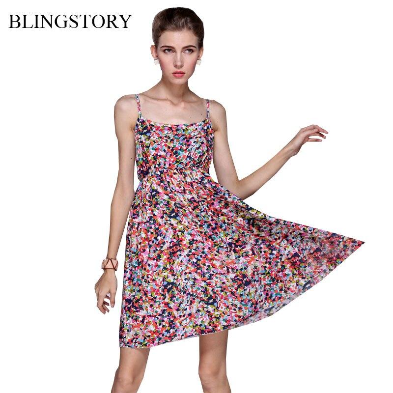 BLINGSTORY Europa Spaghetti strap talla grande señora flor estampado Vacaciones verano Vestido Mujer ropa vestidos XL XXL XXXL