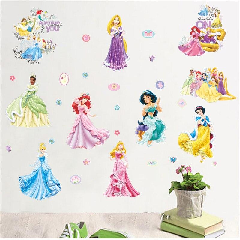 Sereia princesa dança adesivos de parede para crianças quarto decoração do berçário decoração pvc
