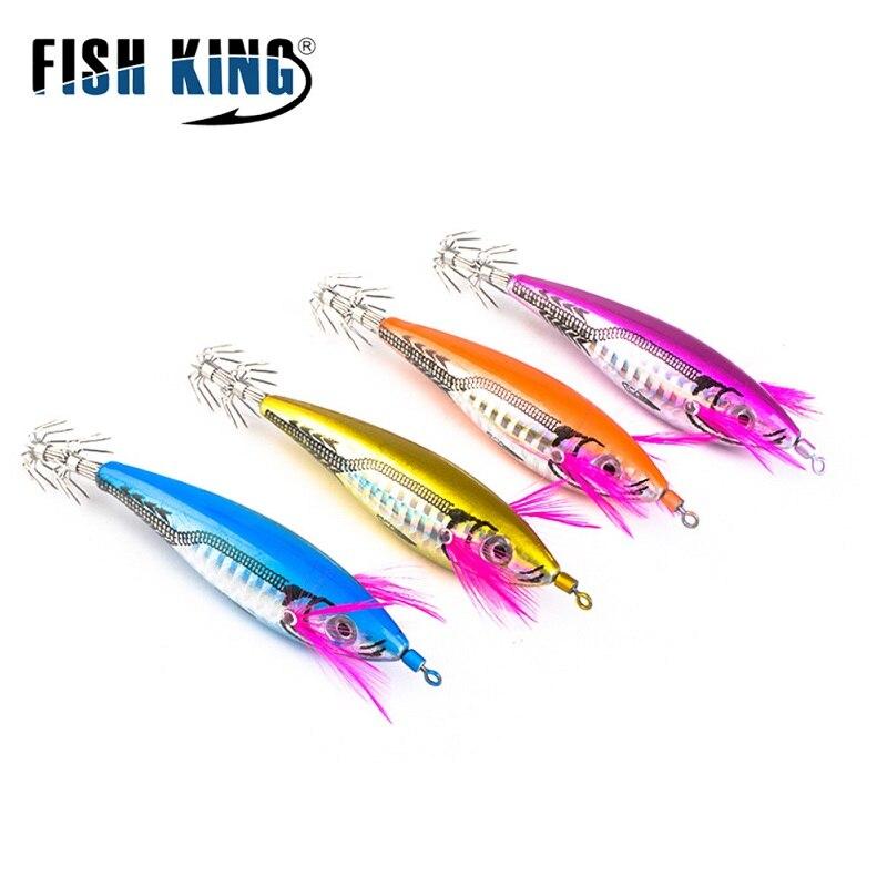 FISH KING 11,5g ojos 3D calamar gancho duro pulpo señuelos para pesca de camarón calamar Jigs mar Artificial pesca cebo calamar señuelo