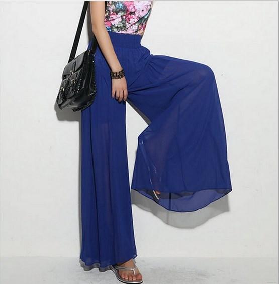 Womens Summer Streetwear Chiffon Culottes Loose Palazzo Skirt Pants Women High Elastic Waist Wide Leg Trousers Blue Pink Black