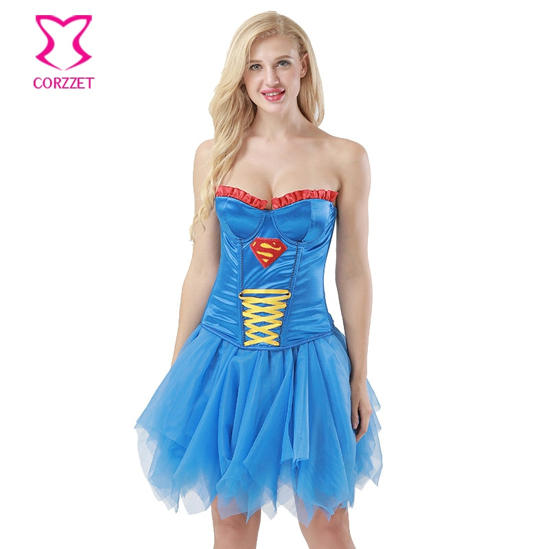Azul As Mulheres Supergirl Cosplay Festa Vestido Gótico Vitoriano Vestidos Espartilho Clubwear Trajes Burlesque Espartilhos E Corpetes Sexy