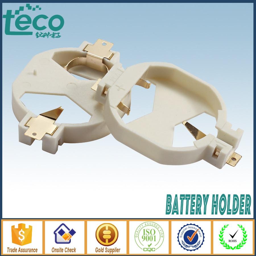 10 Uds CR2032 2032 soporte de batería botón celular caja de plástico blanco TBH-CR2032-24