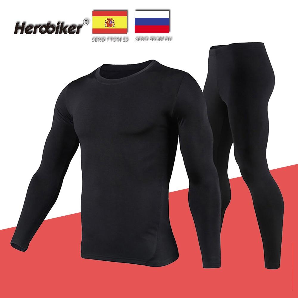 Herobiker Unisex forro polar conjunto de ropa interior térmica motocicleta esquí capa Base invierno cálido largo Johns camisas y Top inferior traje