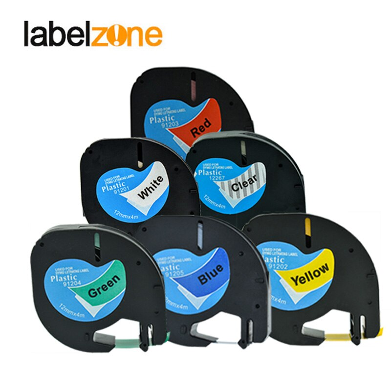 6pcs Multicolor 12mm Label Tapes Compatible Dymo 12267 91201 91202 91203 91204 91205 Plastic Tape for DYMO Letratag Printers недорого