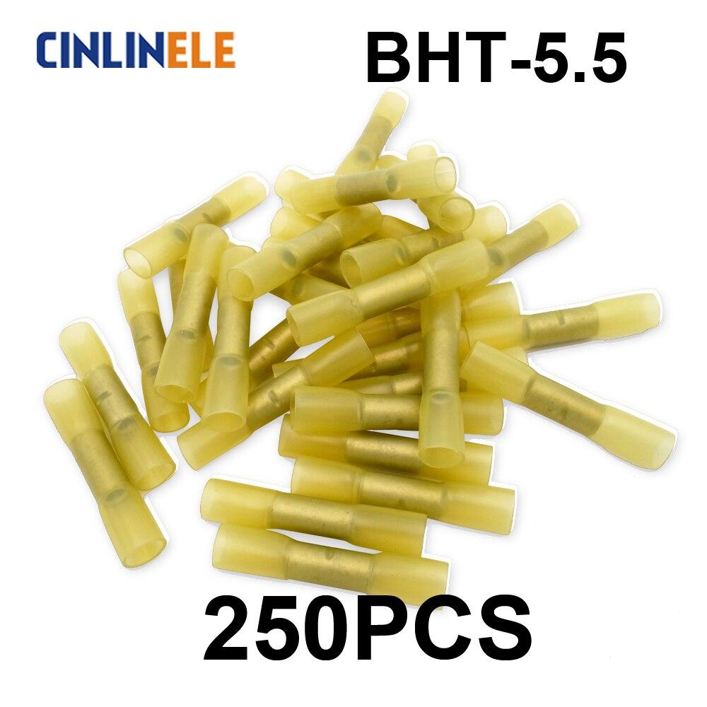 250 Uds BHT5 aislado termorretráctil trasero cable eléctrico cable conector de Terminal para crimpar 12-10AWG 4mm-6mm BHT-5