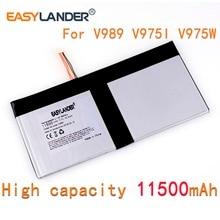 Alta capacidad de repuesto nuevo 5-enchufe de cable de la batería 3,7 V 11500mAh li-polímero de la batería para onda V989 V975I V975W 9,7 pulgadas tablet PC