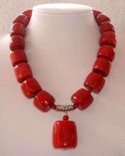 Livraison @ @ @ @ @ incroyable cylindre rouge perles de corail collier de bijoux de mode 18