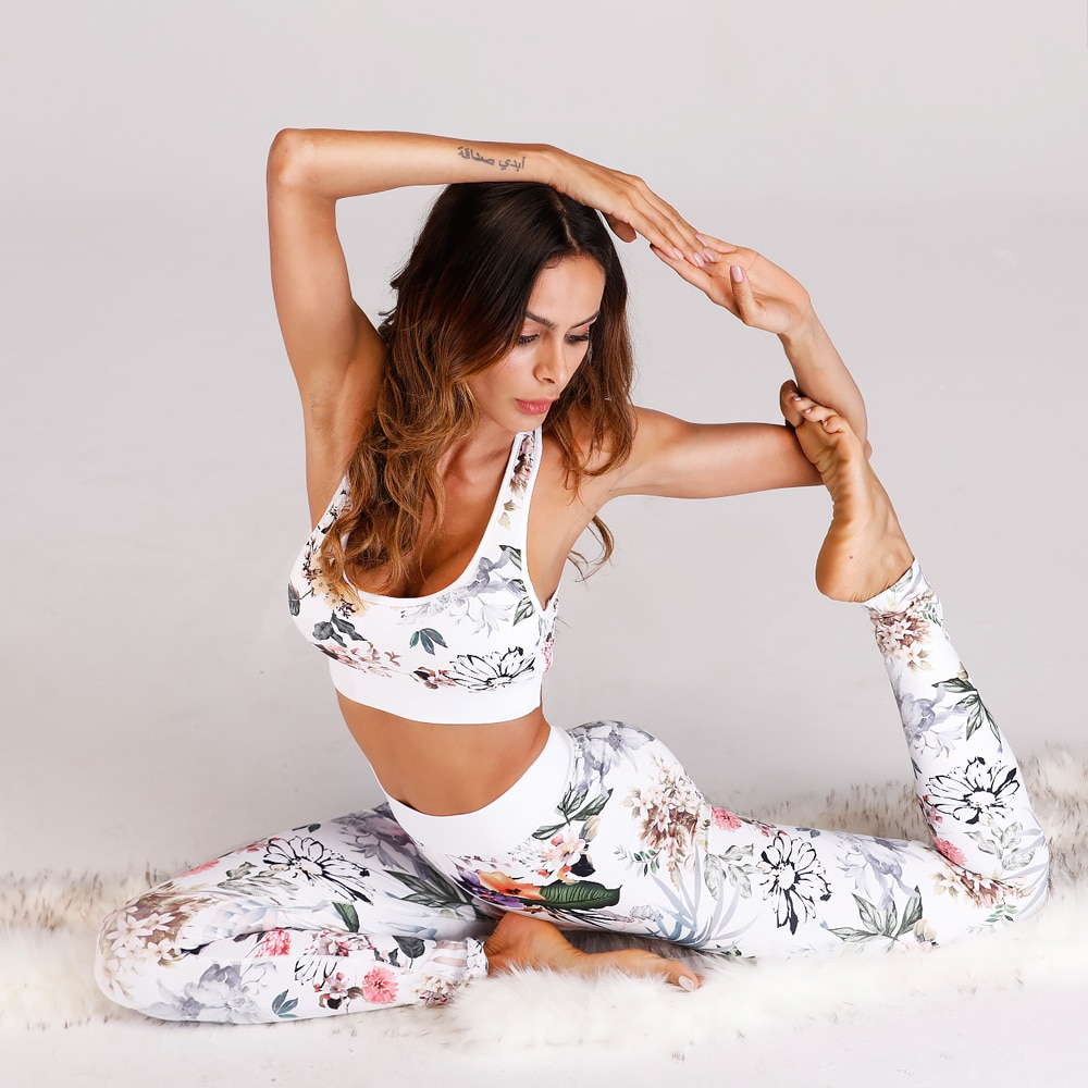 AliExpress - Floral Women Yoga Set Sportswear Fitness Sport Suit Gym Wear Running Clothes Women's Tracksuit Tank Top Pants Leggings,ZF216