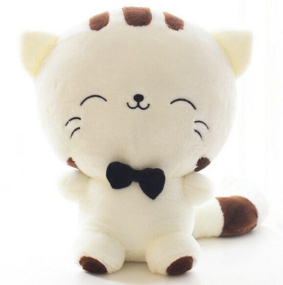 Милый кавайный Котик с бантом, 20 см, плюшевые куклы, мягкие игрушки в подарок, мягкие кукольные подушки для дивана, подарки на Рождество, декор для вечеринки