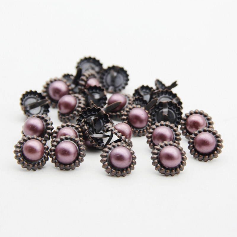 30pcs 16.8mm Round Vintage Flowers Brads Handmade Photo Album DIY Craft Embellishment Decor Scrapbooking Metal Brads Accessories