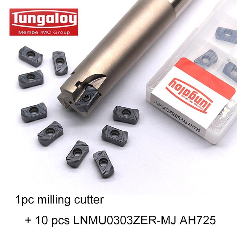 Tungaloy 1pc LNMU03R16D16d150L2T/LNMU03R20D20d150L3T + 10 Uds LNMU0303ZER-MJ AH725 fresado insertar inserto de carburo de CNC