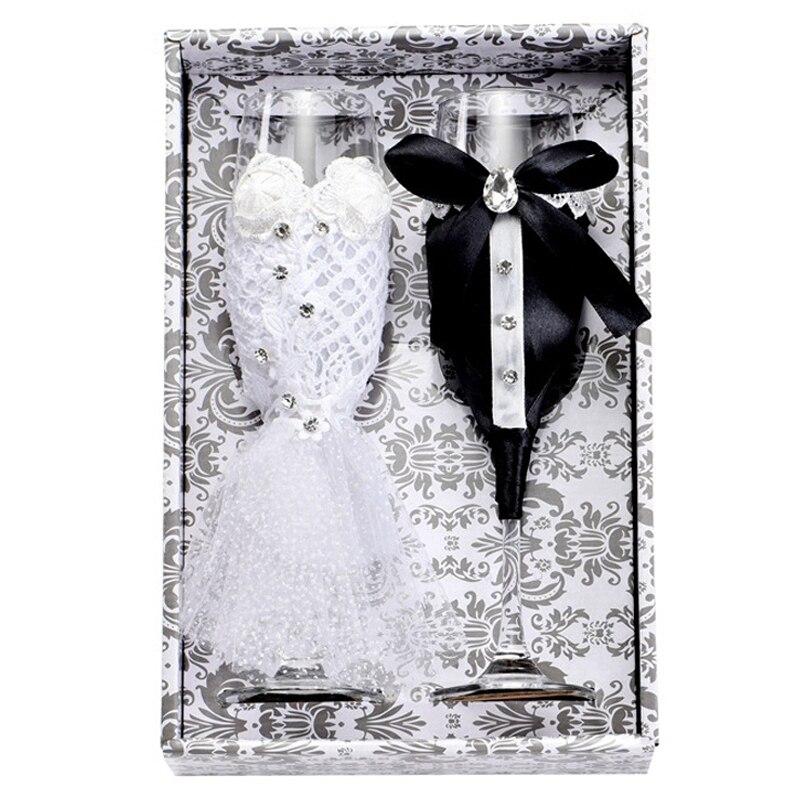 Caliente 2 unid/set regalo creativo para novia y novio blanco y negro Dresschampagne flautas de boda conjunto de copas para W