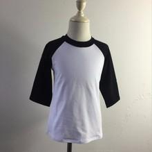 T-shirt manches 100 coton   raglan uni et blanc, pour filles et garçons, en gros