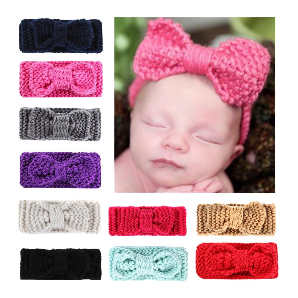 Детские аксессуары для волос Ins повязки на голову для новорожденных, зимняя вязаная крючком повязка на голову для девочек, ободок для волос ...