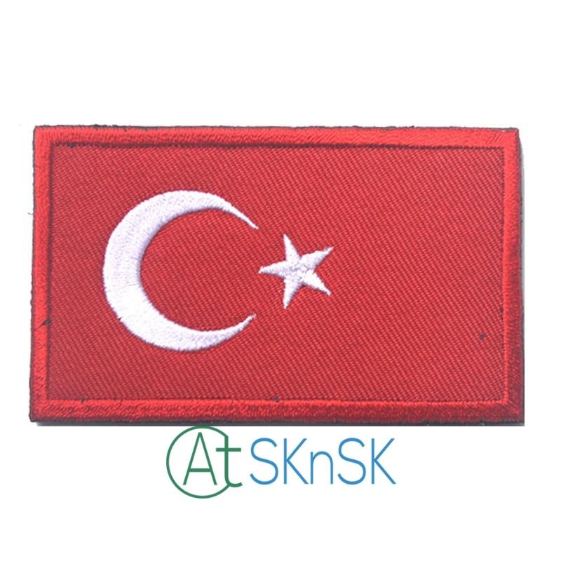 1 pcs Remendo Da Bandeira Turquia Turco Bordado Badges Militar Tático Moral Patch Titular Armband Tecido Adesivos para Tampa Mochila