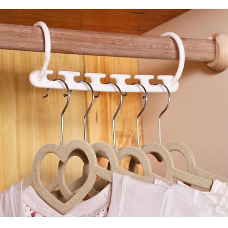 1PCS=5 Hole PP Home Tools Racks 3D Space Saving Hanger Magic Clothes Hanger with Hook Closet Kitchen storage Organizer Bathroom