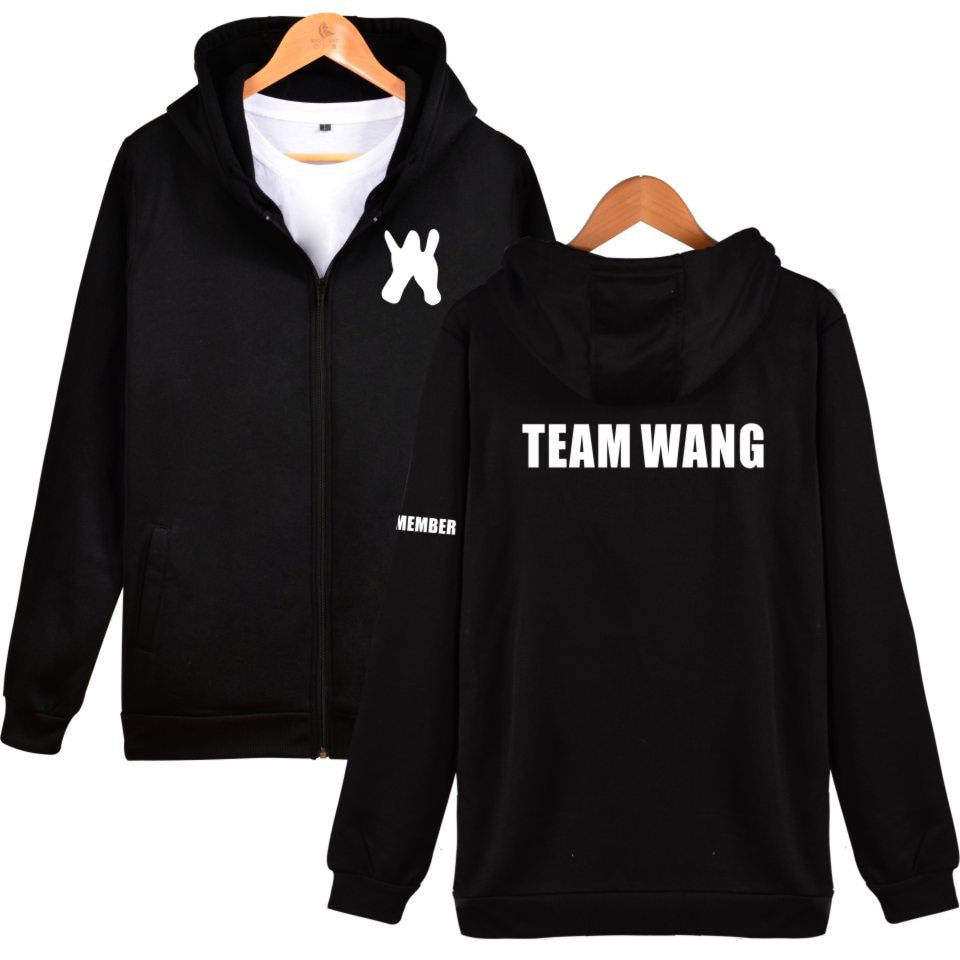 GOT7 Jackson equipo wang estampado cremallera hombres mujeres sudaderas chaqueta abrigo casual zip up manga larga chándales sudaderas con capucha tops