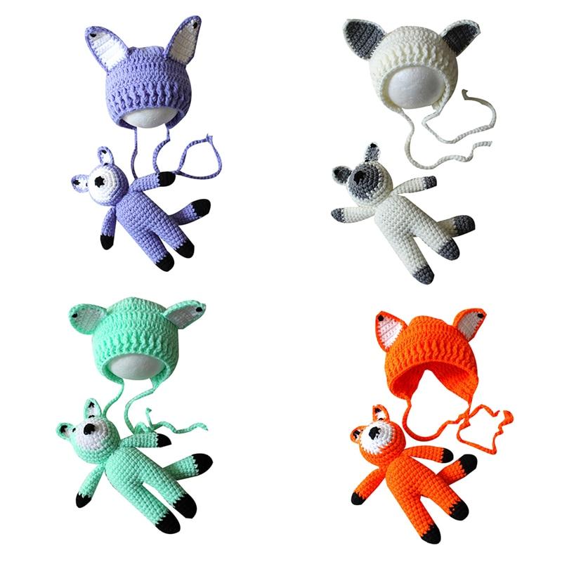 Gorro de animales de lana de punto de ganchillo con dibujos animados vivos, juguetes para bebés recién nacidos, accesorios para fotografía, conjunto nuevo de punto, gorro, juguete