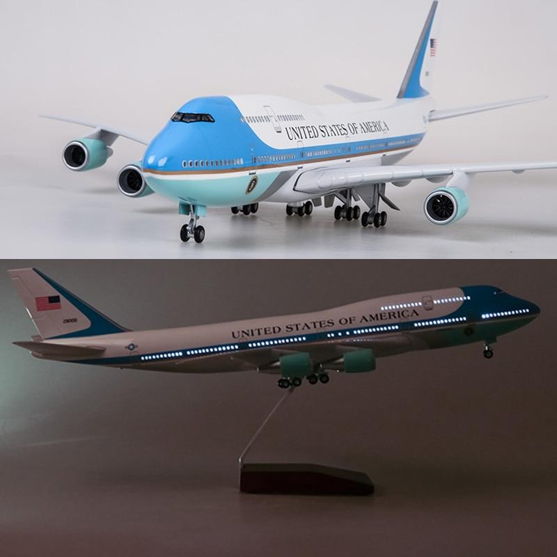 Игрушечные модели самолетов Boeing 747, 47 см, воздушные силы, одна модель, W освещение и колесо, 1/150 весы, литье под давлением, пластик, полимерный с...