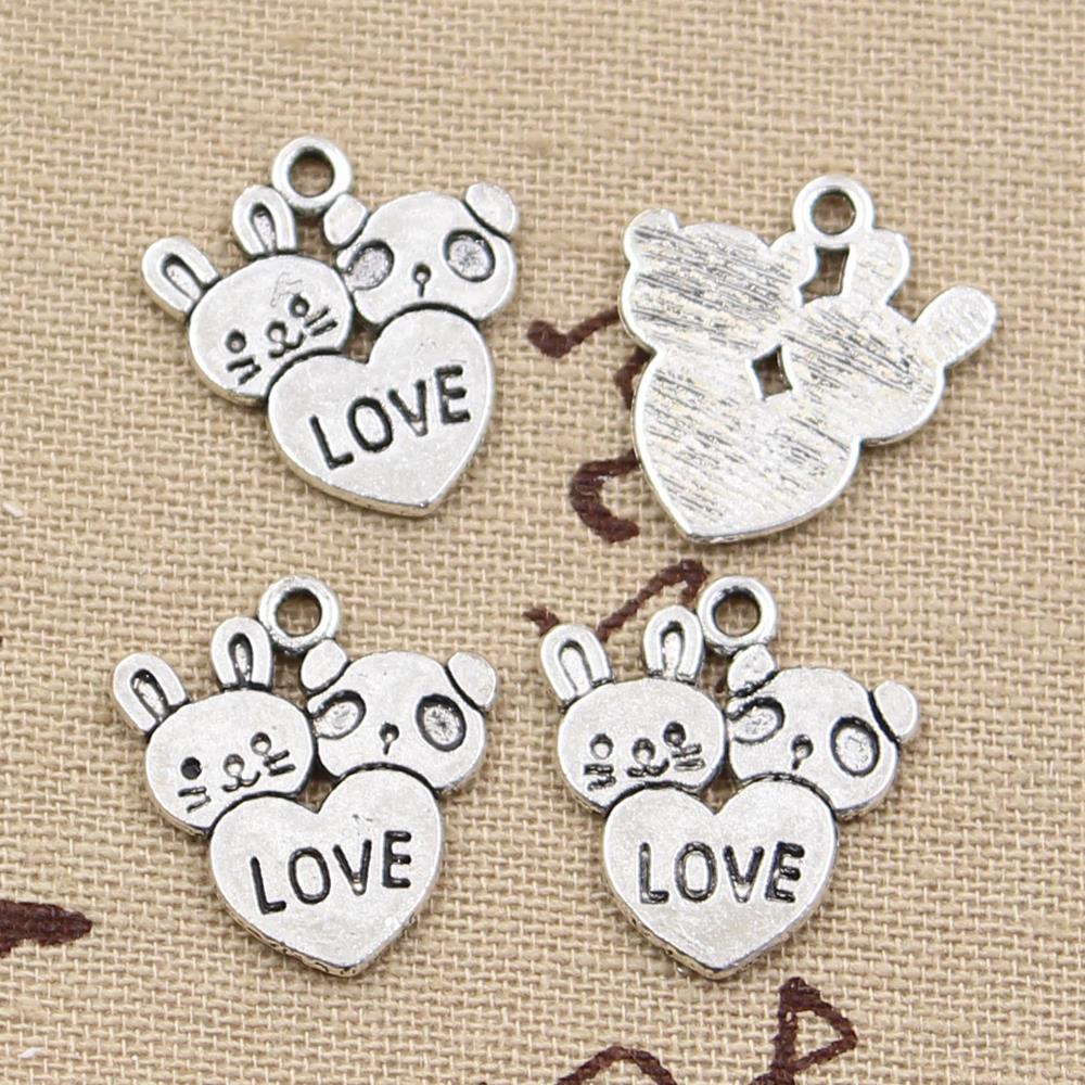 20 шт. Подвески кролик панда сердце любовь 20x18 мм Античные Подвески из серебра Сделай Сам тибетские ювелирные изделия ручной работы