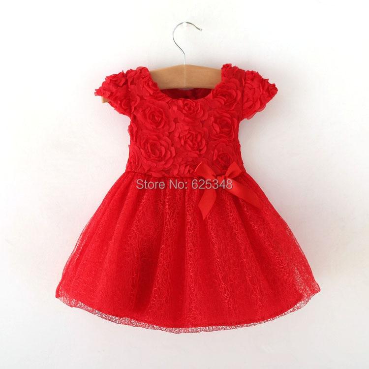 Retail - summer baby girls dress bow Baby clothing,ball gown children kids tutu baby girls dress baby dress red