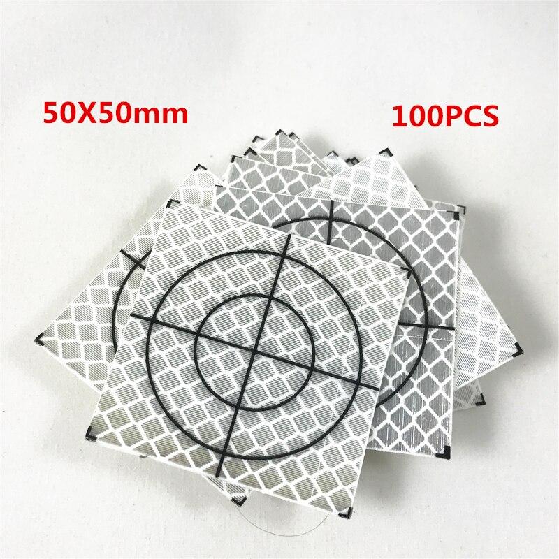 100pcs NIEUWE Reflector Vel 50X50mm (50X50) reflecterende tape doel voor total station 3M Merk