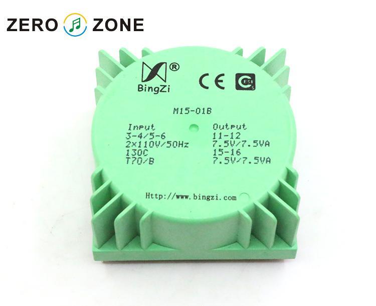 GZLOZONE 15W transformador de sellado verde, doble 7,5 V, doble 110V, transformador para Amp