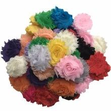50pcs/lot DIY Shabby Chiffon Fabric Hair Flowers, Single Flowers, Solids Color Mix A076-16